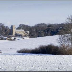 Barking Church in the snow